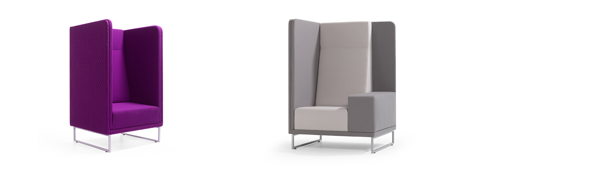 Puple and gray 1st Class single seater high back sofa