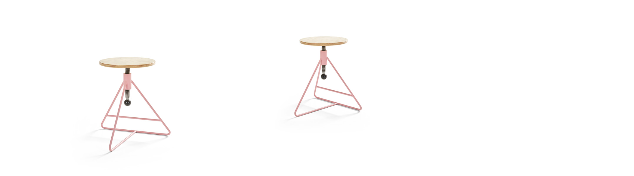 Height adjustable pink stool Spinner
