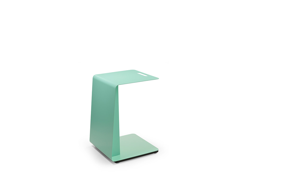 Green colored metal side table T-Pad