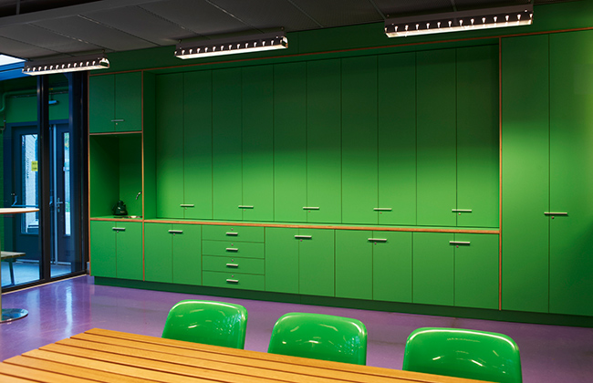 Custom made storage cabinets for the Valuas college