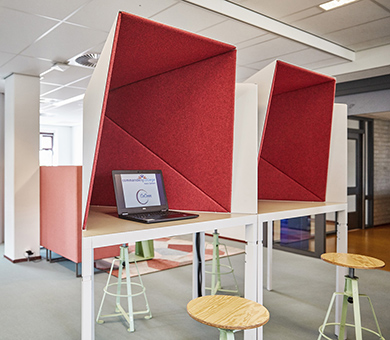 Trigon Shelters form individual workspaces and concentration booths.