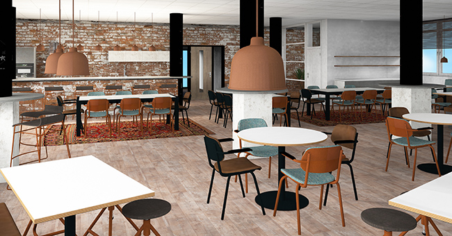 The 3D design for the grand café at Prime Vision, made by our studio.