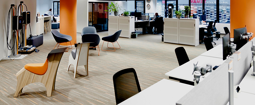 An overview of the office design with various Lande furniture.