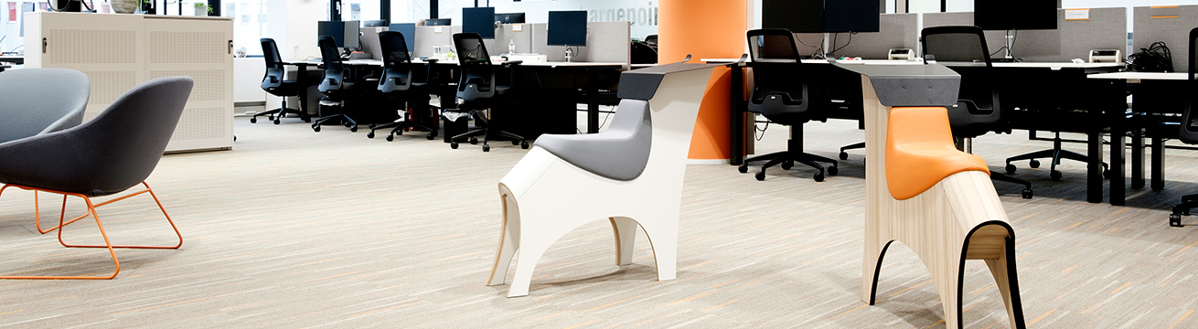 The workplace part at the office, with Toro's as creative furniture or as an extra seat.